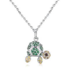 MBLife.com - Left Right Accessory - 925 Sterling Silver Cute Turtle CZ Necklace (16') Girls Jewellery