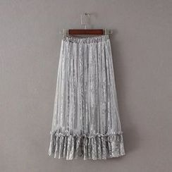 Amoura - Frill Trim Lace Midi Skirt