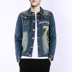Evzen - Number Applique Washed Denim Jacket
