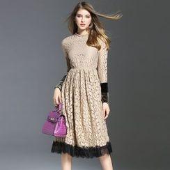 Elabo - A-Line Midi Lace Dress
