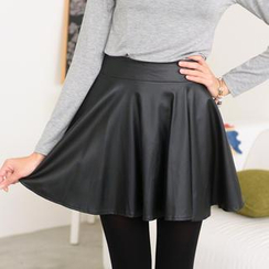 59 Seconds - Faux-Leather A-Line Skirt