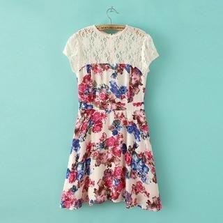 JVL - Lace-Panel Flower-Print A-Line Dress