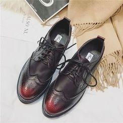 Anran - Lace-Up Wingtip Platform Shoes