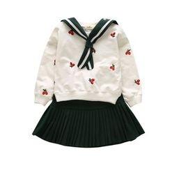 GG House - Kids Set: Sailor Collar Long-Sleeve Top + Pleated Mini Skirt