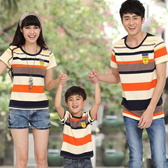Igsoo - 亲子短袖横纹T恤
