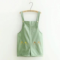 PANDAGO - Cat Embroidered Pinafore Playsuit