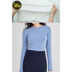 BONGJA SHOP - Round-Neck Cotton T-Shirt