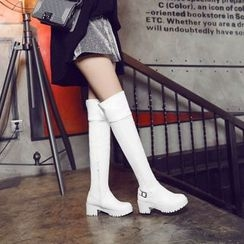 Pretty in Boots - Block Heel Over-the-Knee Boots