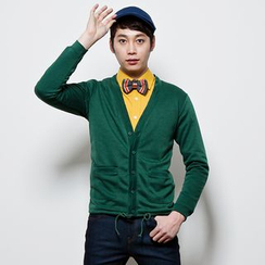 DANGOON - V-Neck Drawstring-Hem Buttoned Cardigan