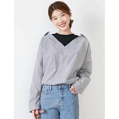 FROMBEGINNING - Inset T-Shirt Open-Placket Stripe Shirt