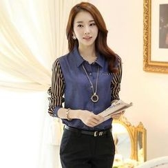 Styleonme - Striped Chiffon Sleeve Denim Blouse