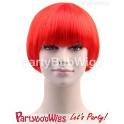 Party Wigs - PartyBobWigs - Party Short Bob Wigs - Neon Red