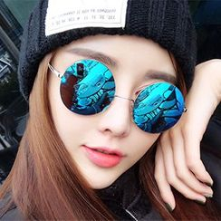 JUNHOVER - Mirrored Round Sunglasses