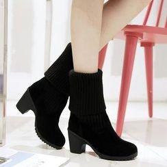 Pangmama - Knit-Panel Short Boots