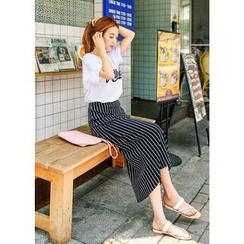 J-ANN - Band-Waist Striped Long Skirt