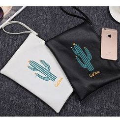 School Time - Cactus Print Faux Leather Clutch