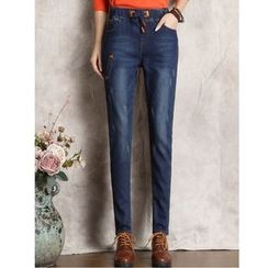 Yinaike - Washed Straight Fit Jeans