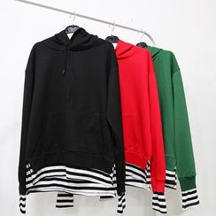 Mr. Cai - Striped Mock Two-Piece Hoodie