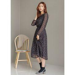 J-ANN - Gathered-Waist Pattern Chiffon Long Dress