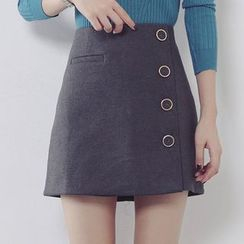 Ashlee - Buttoned A-line Skirt