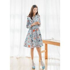 J-ANN - Elastic-Waist Floral-Pattern Dress