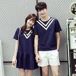 Azure - Couple Matching Contrast Trim Short Sleeve T-Shirt / Ruffle Hem Dress