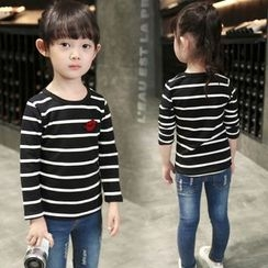 Merry Go Round - Kids Lip Applique Striped Long-Sleeve T-Shirt