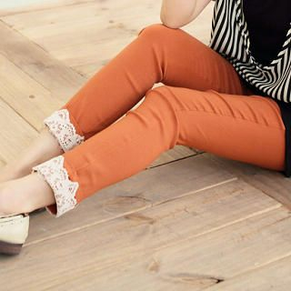 Lace-Trim Slim-Fit Pants