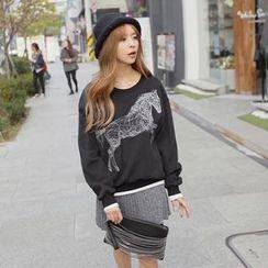 REDOPIN - Brushed-Fleece Embroidered Sweatshirt