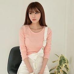 Bongjashop - Round-Neck Long-Sleeve T-Shirt