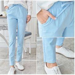 looknice - Plain Drawstring Pants