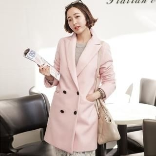 JOAMOM - Peaked-Lapel Double-Breasted Coat