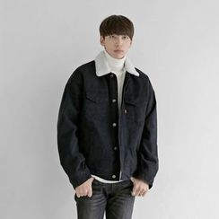 Seoul Homme - Buttoned Fleece-Lined Cotton Jacket