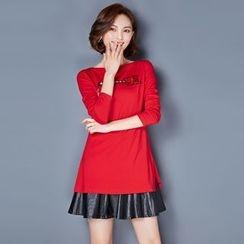 AiSun - Faux Leather Pleated Long-Sleeve Dress