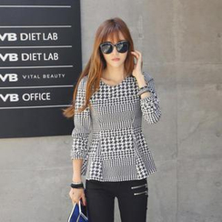 REDOPIN - Houndstooth-Pattern Peplum Top