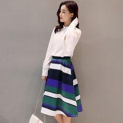Mandalle - Set: Plain Shirt + Striped A-Line Skirt