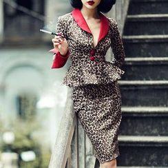 Kylie - Set : Leopard Print Peplum Top + Skirt