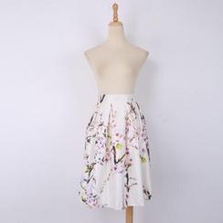 V-MAY - Printed Pleated A-Line Midi Skirt
