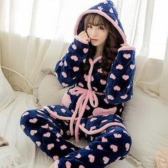 Dreamland - Pajama Set: Hooded Fleece Top + Pants