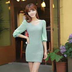 Loverac - Chiffon-Sleeve Knit Dress
