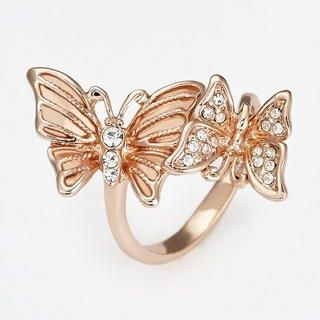 Moonbasa - Rhinestone Butterfly Ring