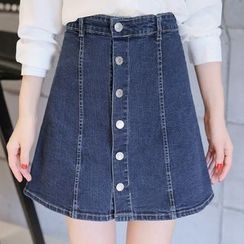 Colorful Shop - Buttoned Denim Skirt