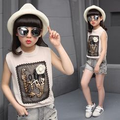Pegasus - Kids Set: Applique Sleeveless Top + Studded Denim Shorts