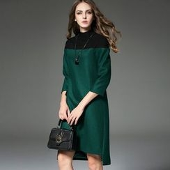 Queen Mulock - Wool Blend 3/4-Sleeve Color-Block Dress