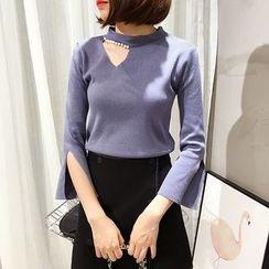 Mayflower - Faux Pearl Embellished Cutout Slit Cuff Sweater
