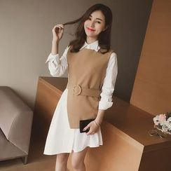 Cocofield - Set: Asymmetric Shirt Dress + Slit Long Vest