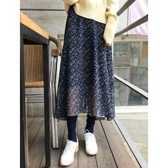 FROMBEGINNING - Floral Chiffon Long Skirt