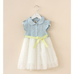 Cuckoo - Kids Denim Panel Tulle Dress