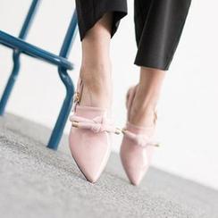 VIVIER - Bow-Detail Ankle-Strap Flats