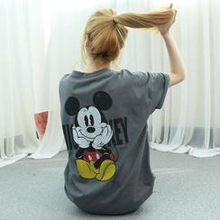 Dodostyle - Mickey Mouse Print Crewneck T-Shirt